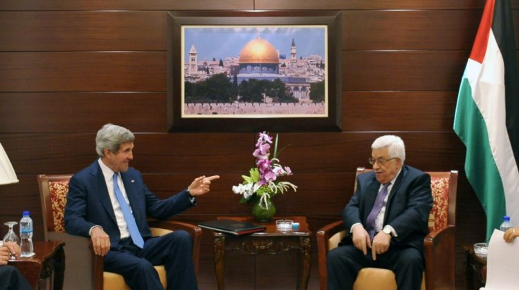 US Secretary of State John Kerry, center left, meets with Palestinian President Mahmoud Abbas on Friday, July 19, 2013 in the West Bank city of Ramallah.