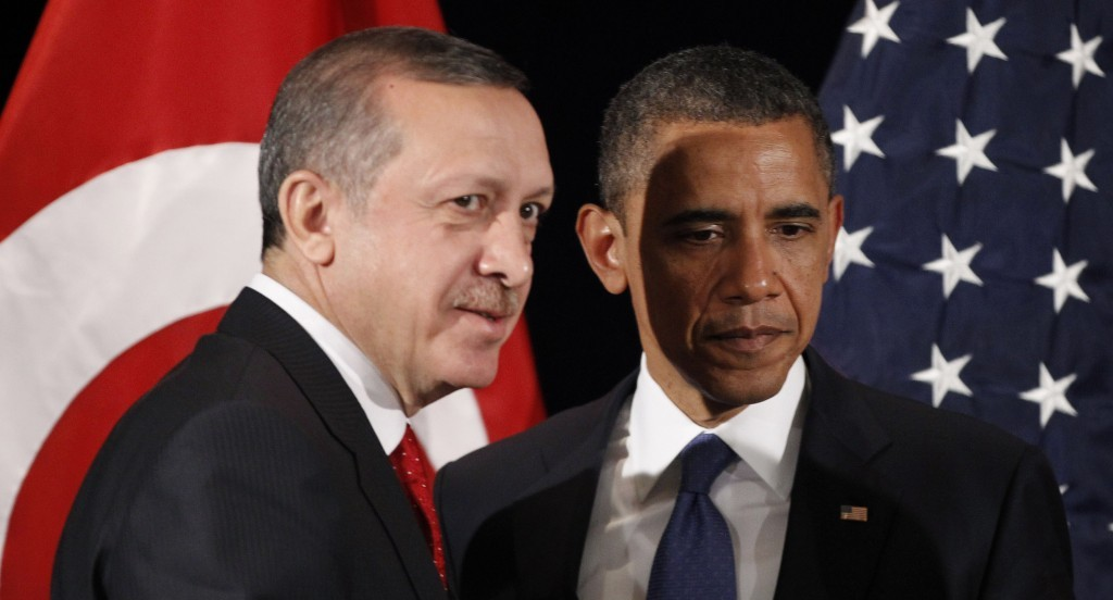 Obama meeting with Turkish prime minister.