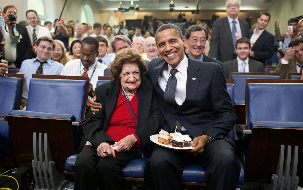 President Barrack Hussein Obama celebrating Helen Thomas birthday